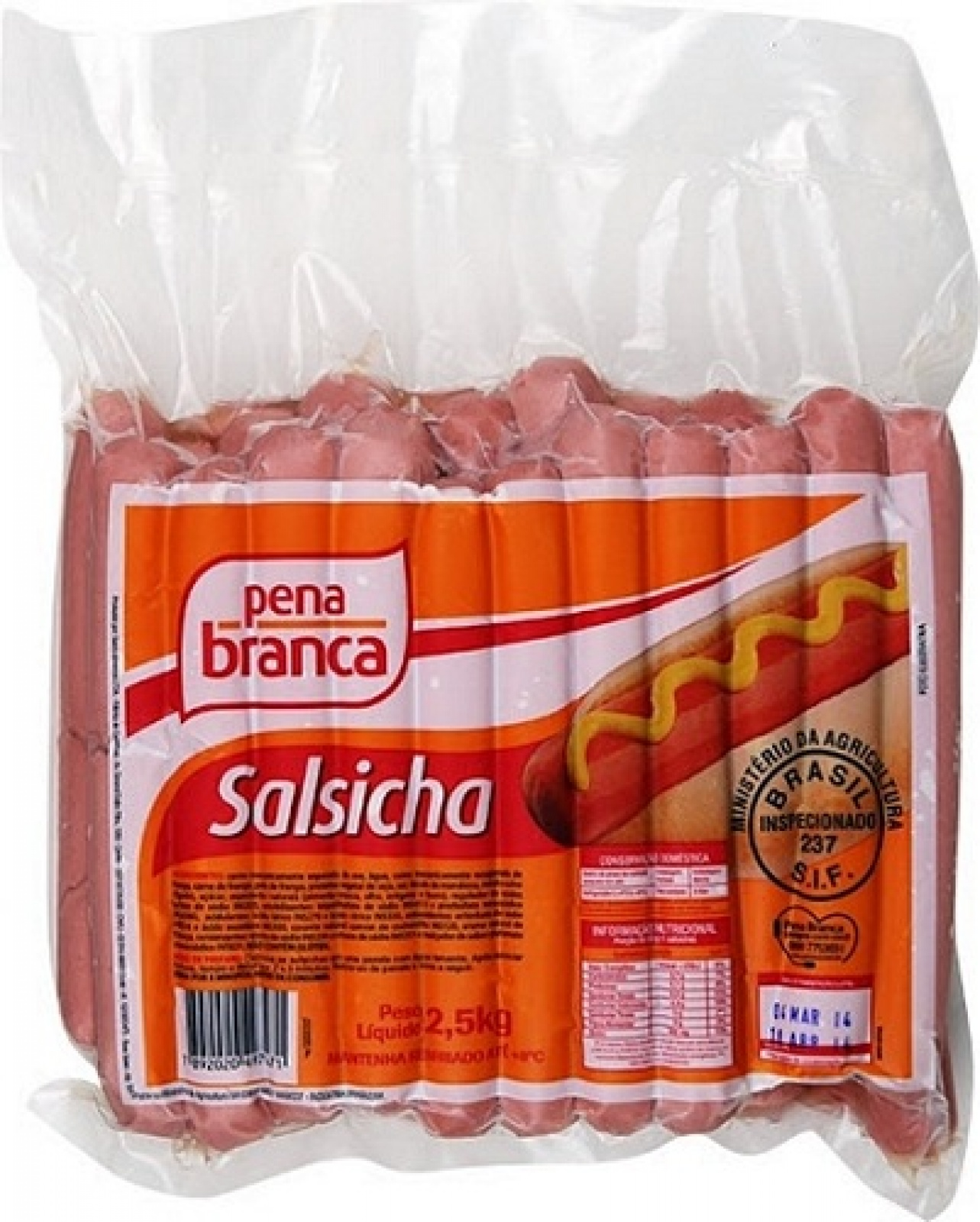 Salsicha 19cm Resfriada Pena Branca